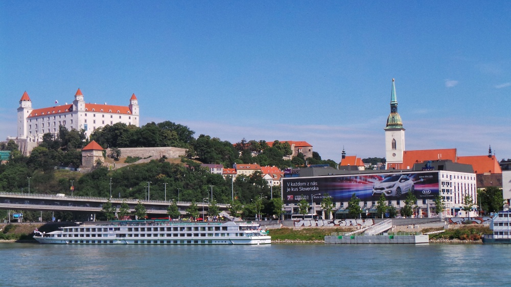 Looking at Bratislava from across the Danube